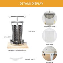 Load image into Gallery viewer, Manual Tabletop Press all-in-one Stainless Steel-1.32Gallon/ 5 Liters