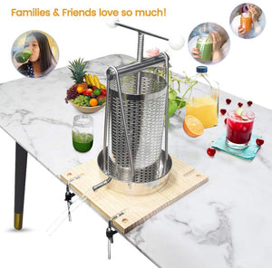 Manual Tabletop Press all-in-one Stainless Steel-1.32Gallon/ 5 Liters