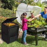 EJWOX Large Garden Compost bin -80 Gallon(300 L)-Recycled Plastic, Easy Assembling,  Black/Green Door - EJWOX Products Inc