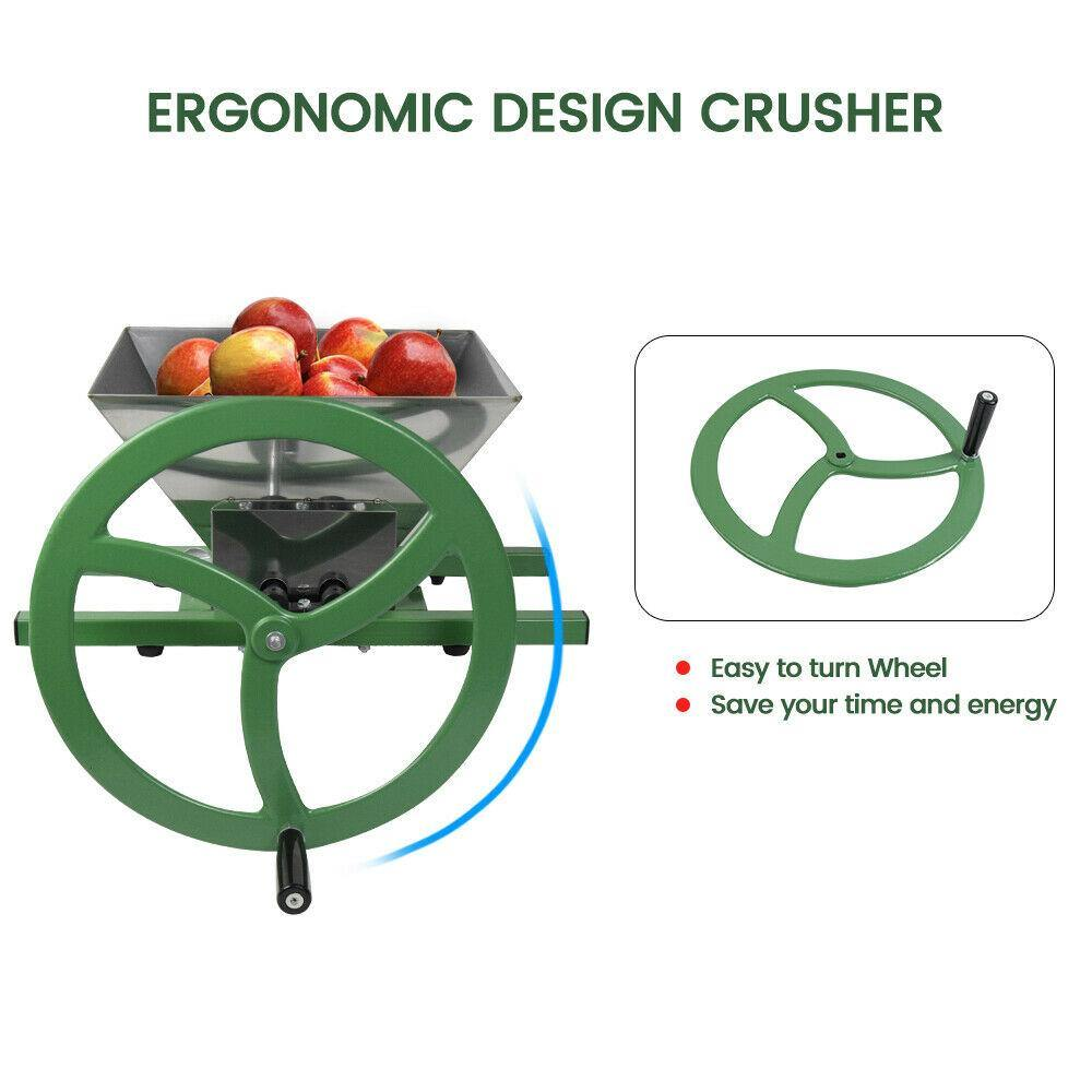 EJWOX Fruit Apple Crusher With Wheel-7L Stainless Steel Manual Juicer Grinder