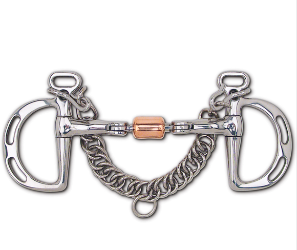 Stainless Steel 3-Piece Snaffle with Copper Roller Uxeter Kimberwick