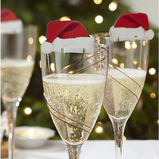 10Pcs Red Christmas Hat Wine Champagne Tipple Cup Card -