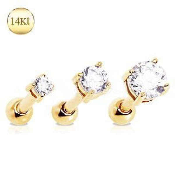 14Kt Yellow Gold Clear Prong Set CZ Cartilage Earring - 2mm