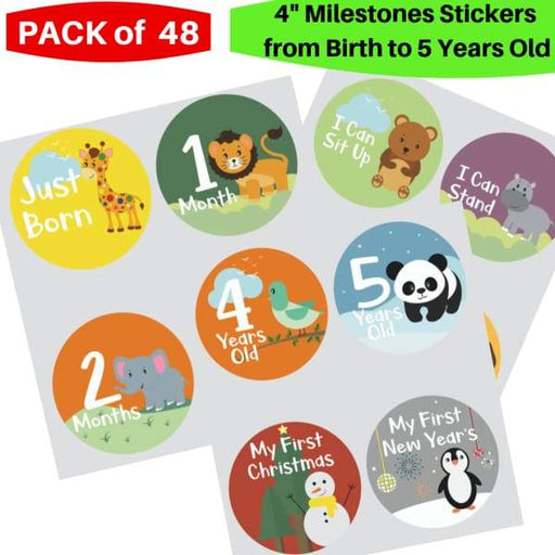 First 5 Years Baby 48 Pack Monthly, Holidays, Events and Yearly Milestones Stickers (48 Pack Stickers - Monthly - XpressGoods
