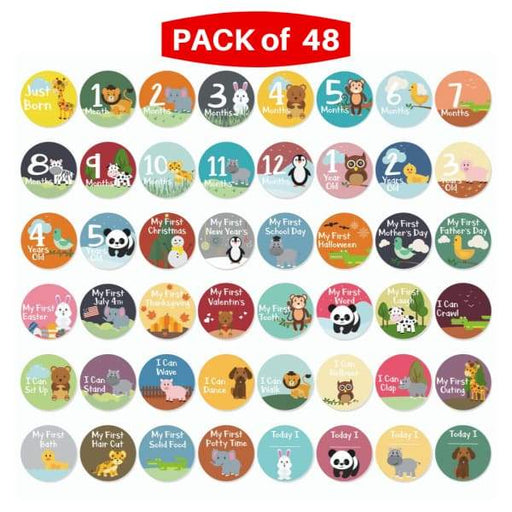 Little Jungle and Farm Animals Lover 48 Baby Milestones Stickers - First 5 Years - XpressGoods