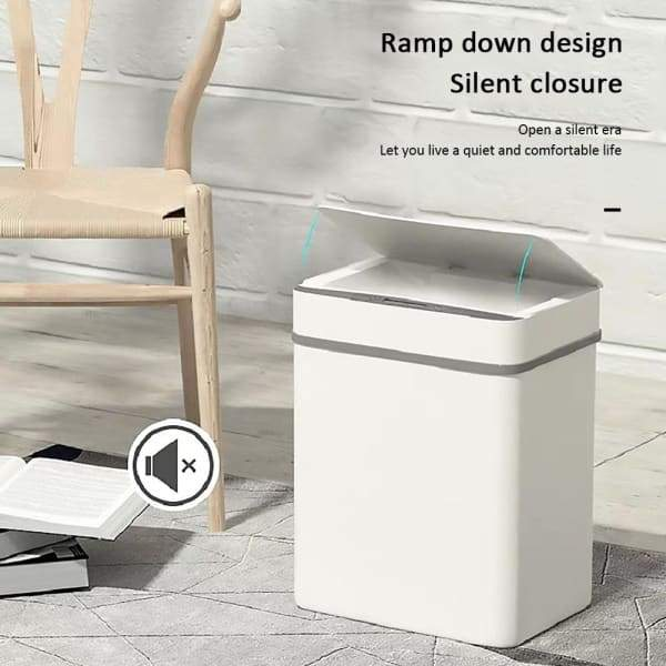 Automatic Induction Flip Trash Can - White - Home & Garden -