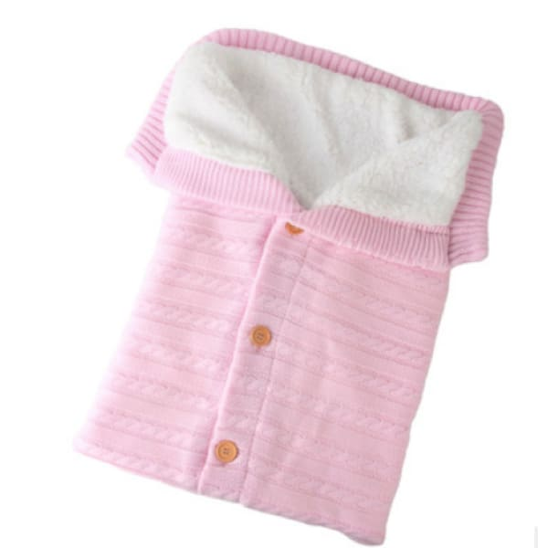 Baby Thickened Plus Velvet Warm Sleeping Bag - Pink - Beauty