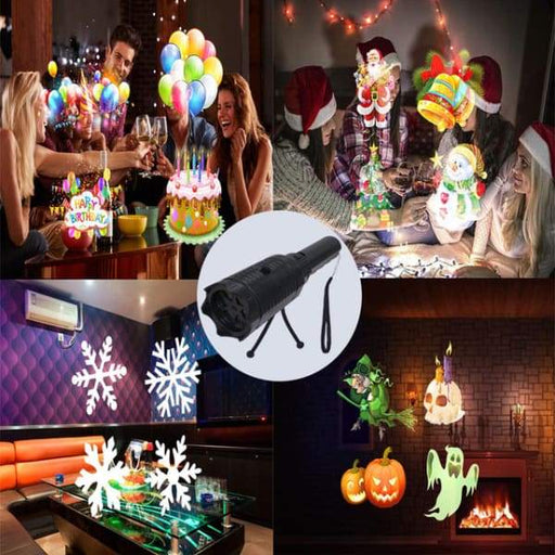 Cartoon Pattern Projection Charging Lamp - Black - Halloween