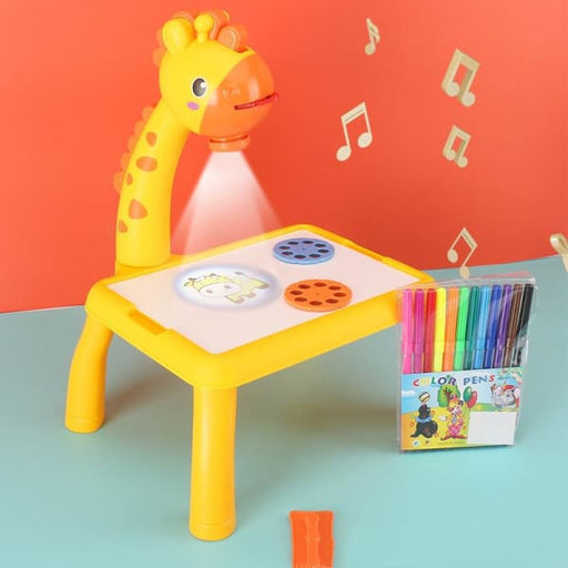 Children LED Projector Art Drawing Table - Yellow - Kids &