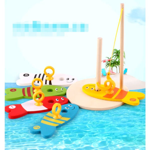 Children's educational creative fishing wooden water ring
