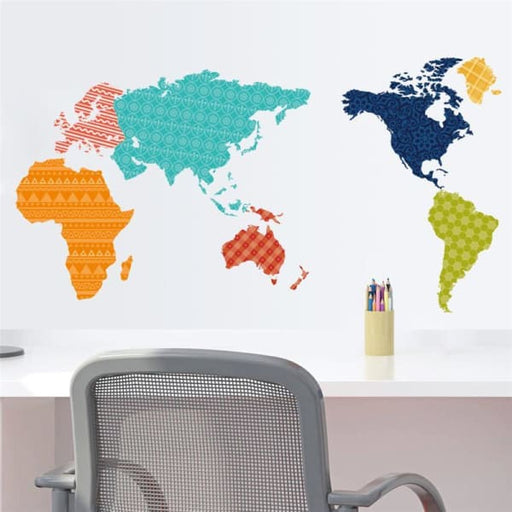 Colorful World Map Wall Stickers for kids rooms -