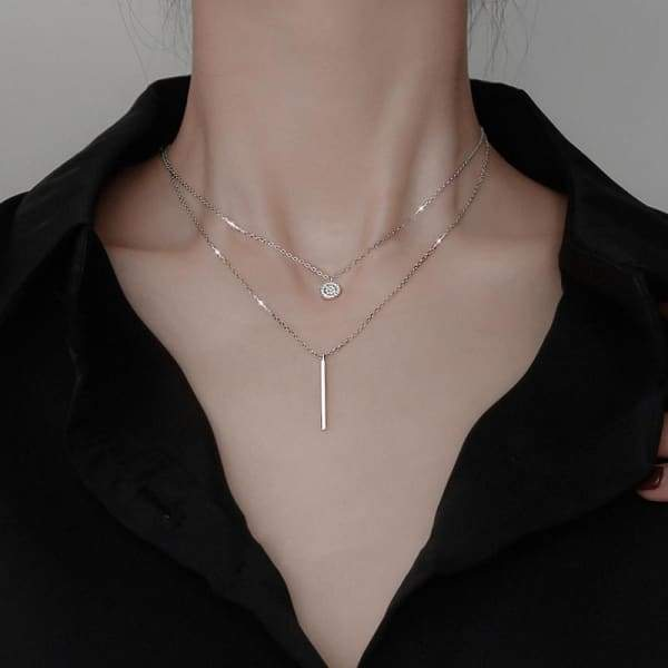 Square Stripe Flash Diamond Round Double Necklace - Beauty &