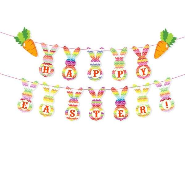 Easter Bunny Eggs Pull Flag Banner - A - Decoration Supplies