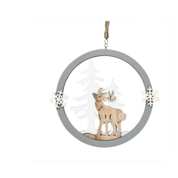 Wall hanging Christmas decoration ornament Elk round - XpressGoods