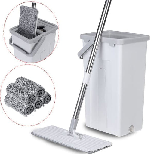 Flat Squeeze Mop | Self Cleaning Tools Set - Grey - Home &