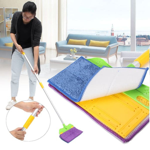 Hand Free Washing Double-Side Flat Mop Microfiber Cleaner -