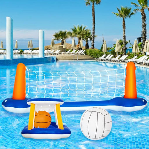 Inflatable Swimming Pool Float Set Volleyball Game - Blue -