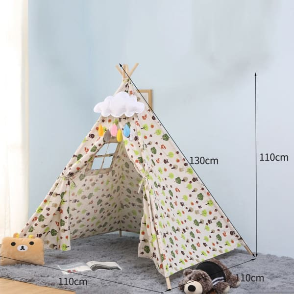 Large Teepee Tent For Kids | Cotton Canvas Pretend Play