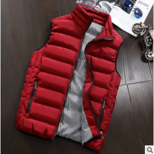 Mens Slim Cotton Vest | Mens Casual Vest - Red / 4XL - deals