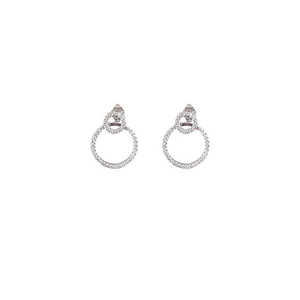 Micro Pave Zircon Front and Back Circle Stud Earrings for