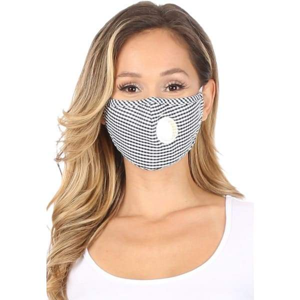 PM 2.5 Adult Face Mask W/ Ear Clip - Black Plaid - Beauty &