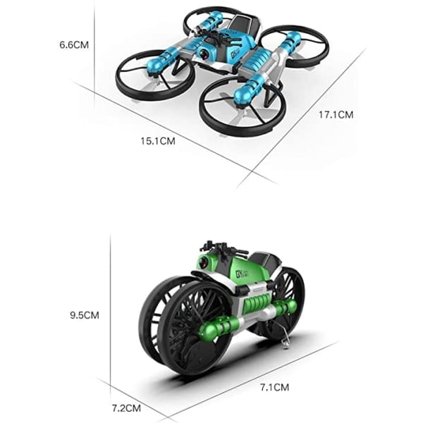 RC Quadcopter WiFi Drone | 2-in-1 Foldable into Motorbike |
