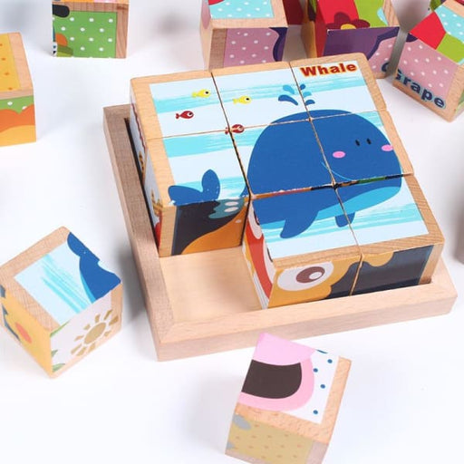 Six Face Picture Wooden 3D Jigsaw Puzzle Toys For Kids -