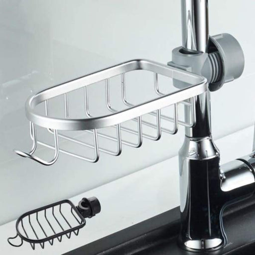 Space Aluminum Mesh Basket Shower Rod Rack - Silver - Home &