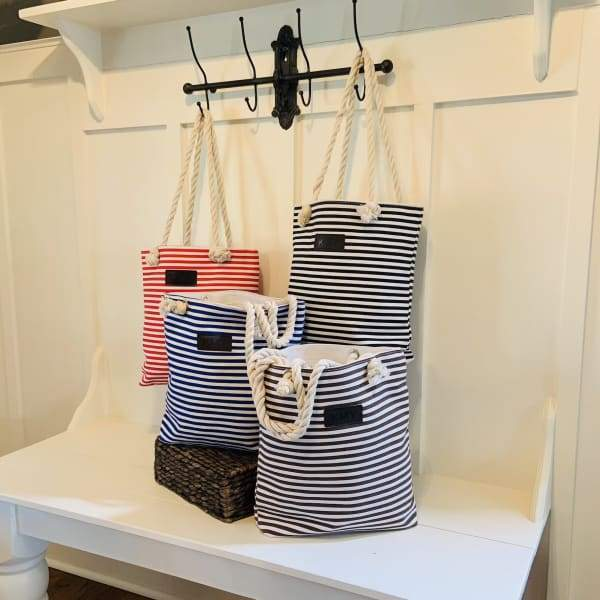 Striped Canvas Tote Bag - Bags & Luggage - Women's Bags