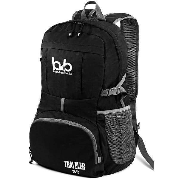 Lightweight Foldable Travel Hiking Backpack - Black - Sports
