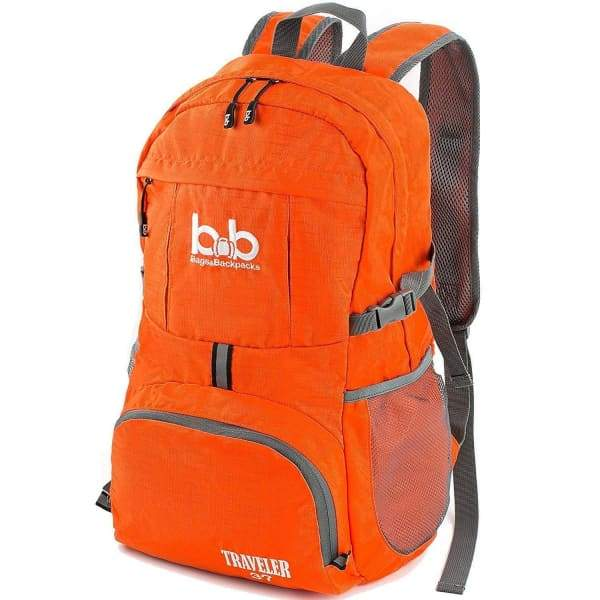 Lightweight Foldable Travel Hiking Backpack - Orange -