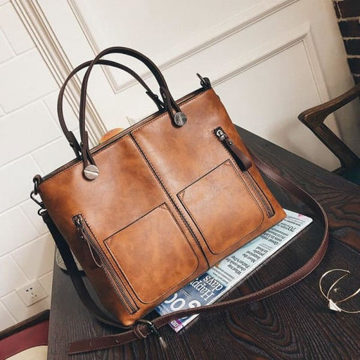 Wax Oil Leather Bag - Bags & Luggage - Women's Bags