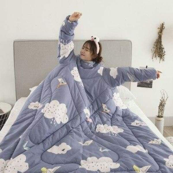 Winter Lazy Quilt With Sleeves - blue Cloud / 120X160CM