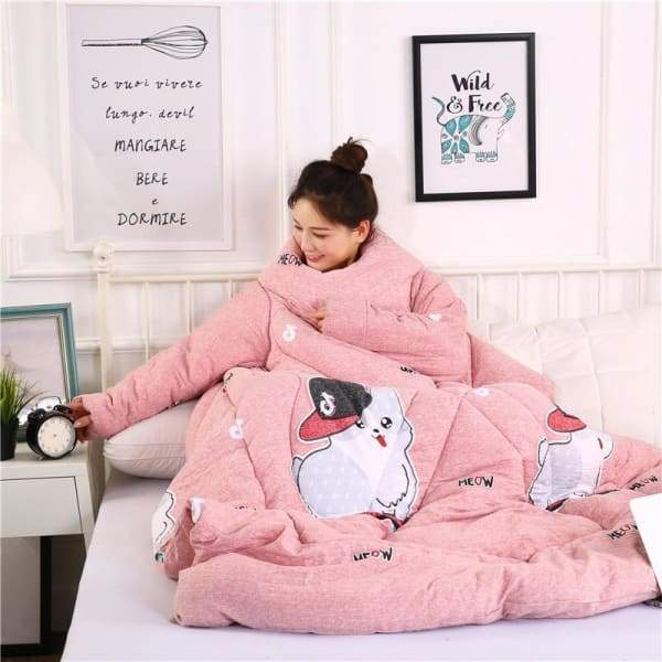 Winter Lazy Quilt With Sleeves - pink cat / 150X200CM
