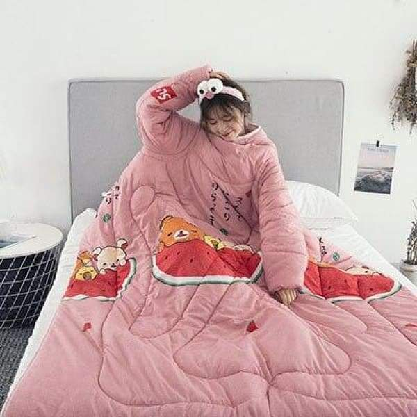 Winter Lazy Quilt With Sleeves - watermelon / 150X200CM