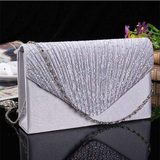 Women Evening Bridal Wallet Envelope Flash Diamond Clutch -