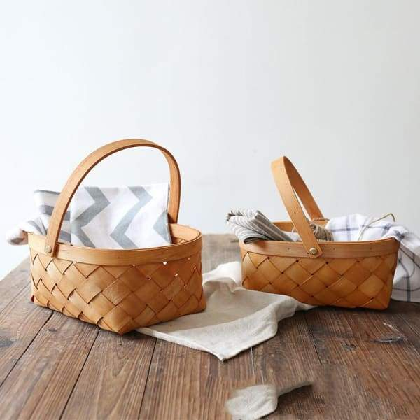 Woven Wood Chip Basket Household Daily Necessities - Brown /