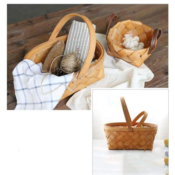 Woven Wood Chip Basket Household Daily Necessities - kitchen