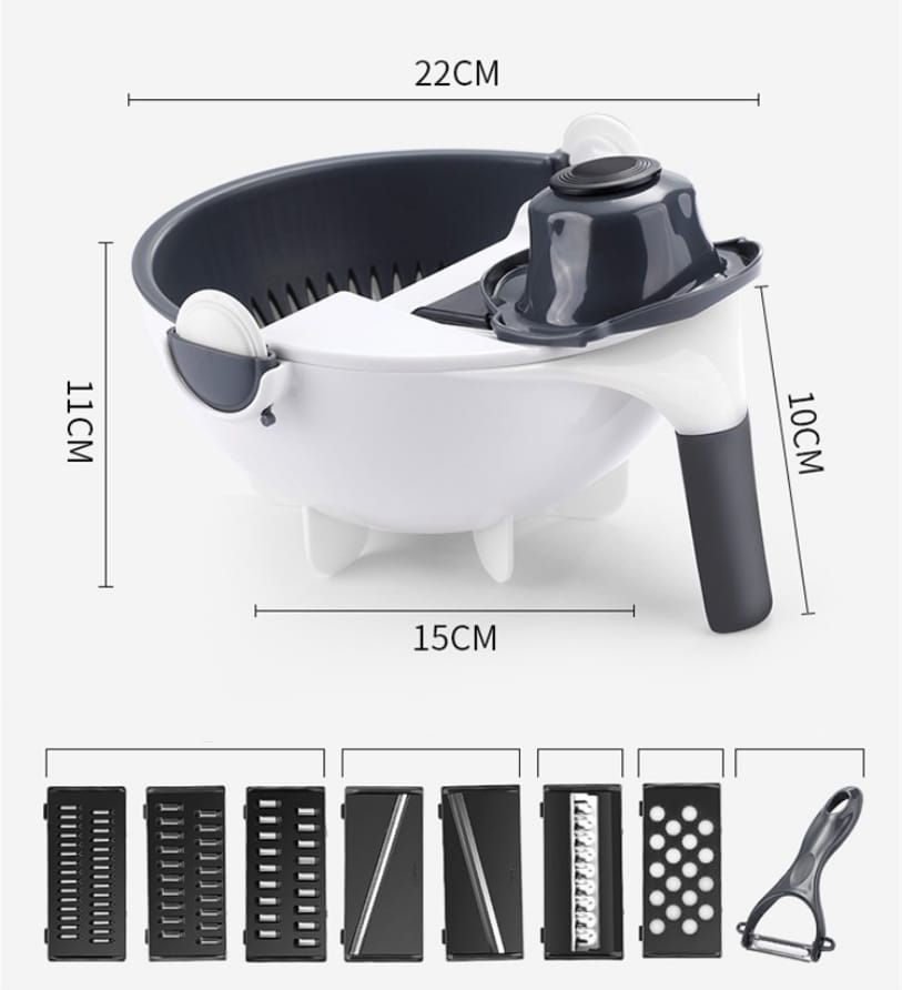 Multi-function magic rotate vegetable chopper with Drain