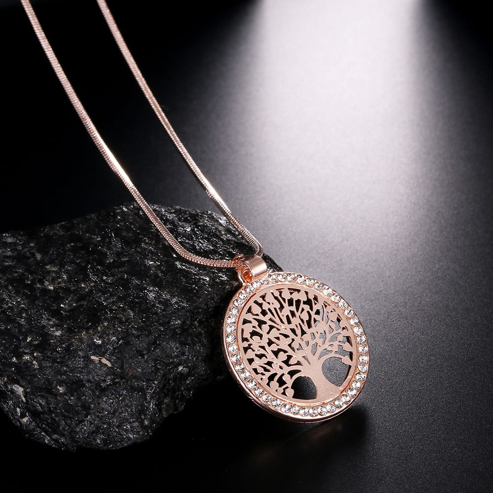 Tree of life long necklace chain crystal pendant
