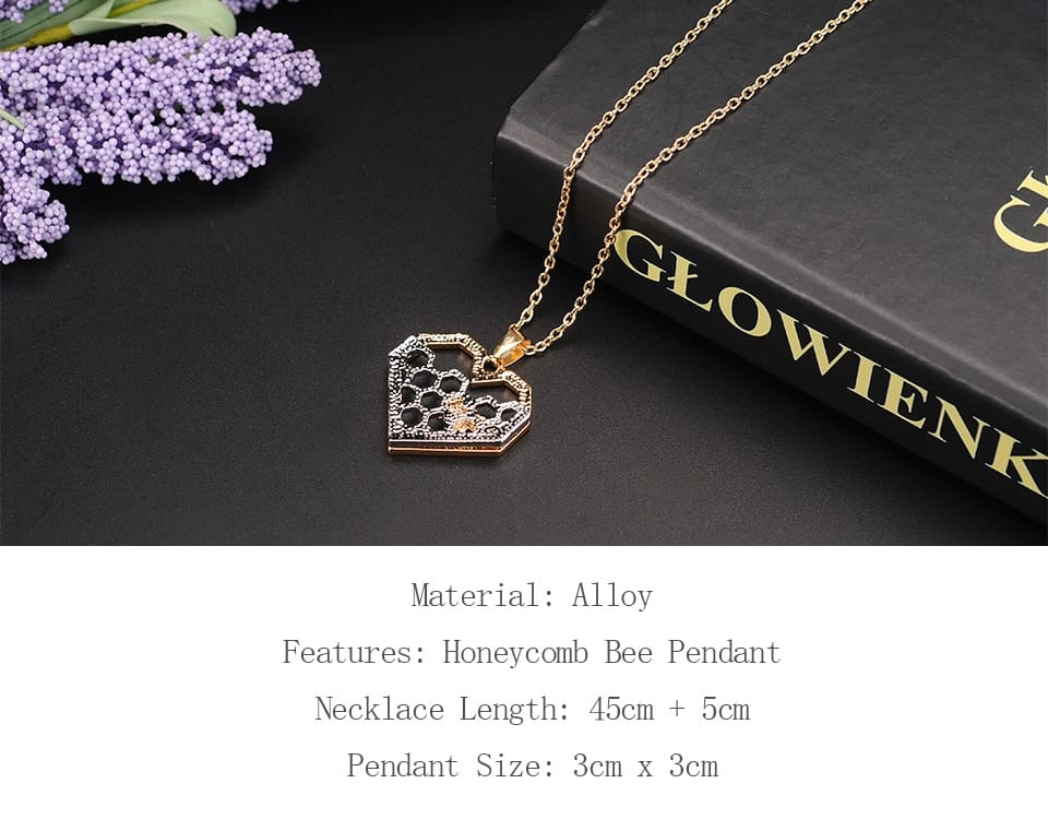 Silver necklaces for Women Girl Heart Honeycomb Bee pendant