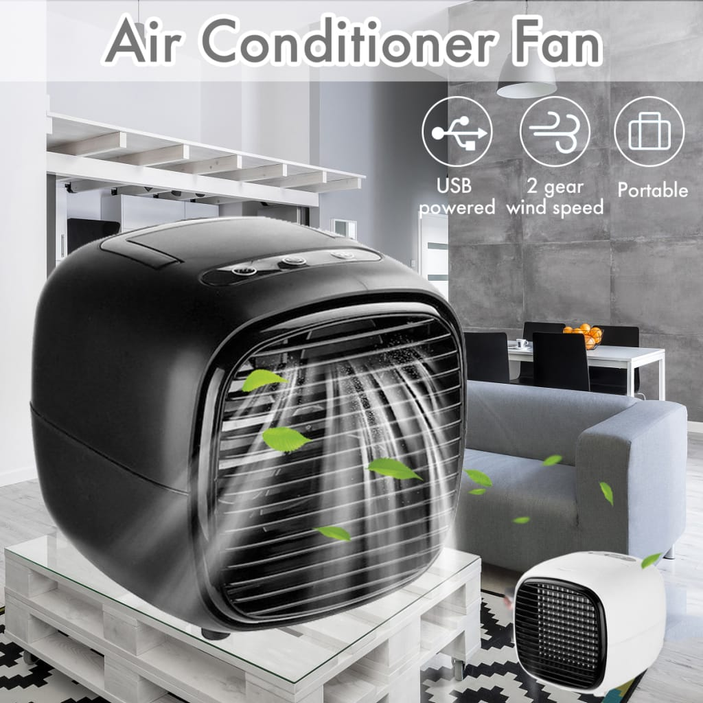 2-Gears Mini Box Fan Air Conditioner Water Cooling Portable