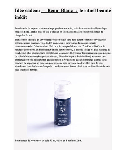 Benu Blanc dans Mag in France