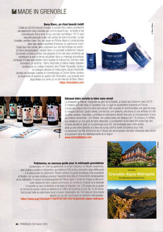 Benu Blanc made in Alps Presences magazine