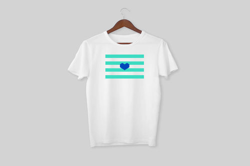 blue heart flag t-shirt