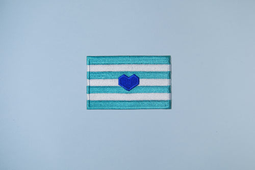 blue heart flag patch