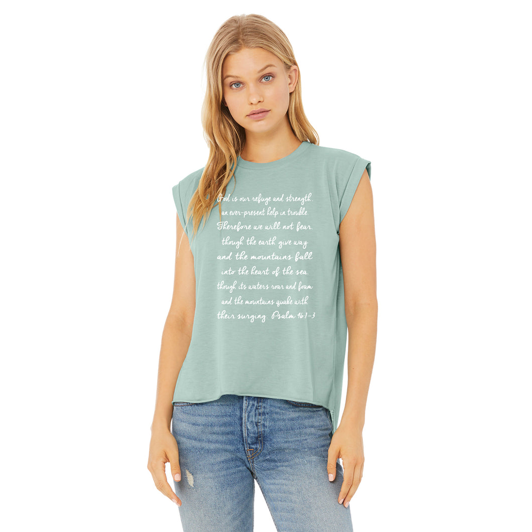 Refuge & Strength Rolled Sleeve Muscle Tee