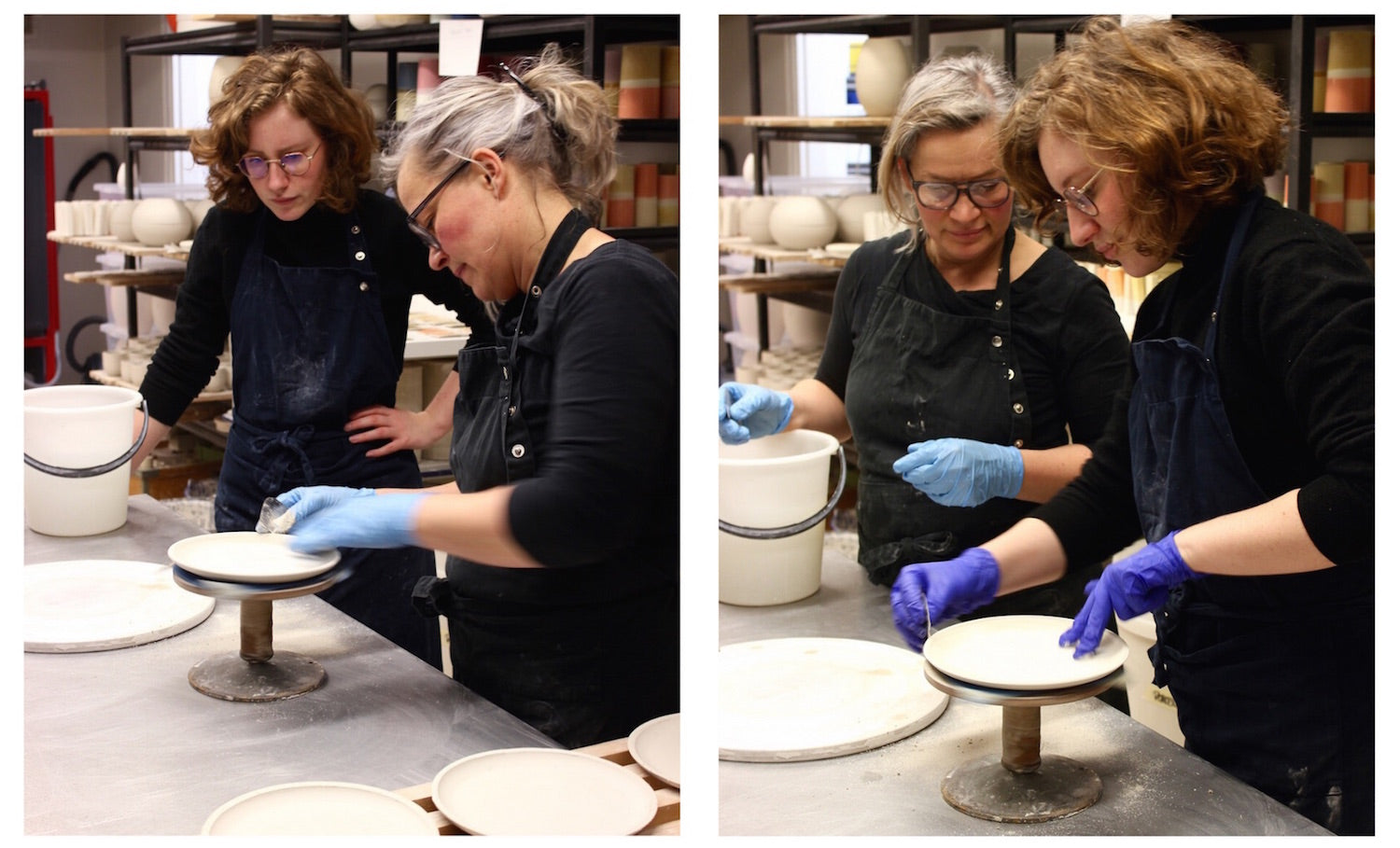 WAUW designs intern Louise learning how to make Tone plates in the ceramic studio in Copenhagen.
