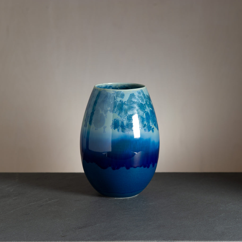 Crystal vase - Dark blue/Petrol