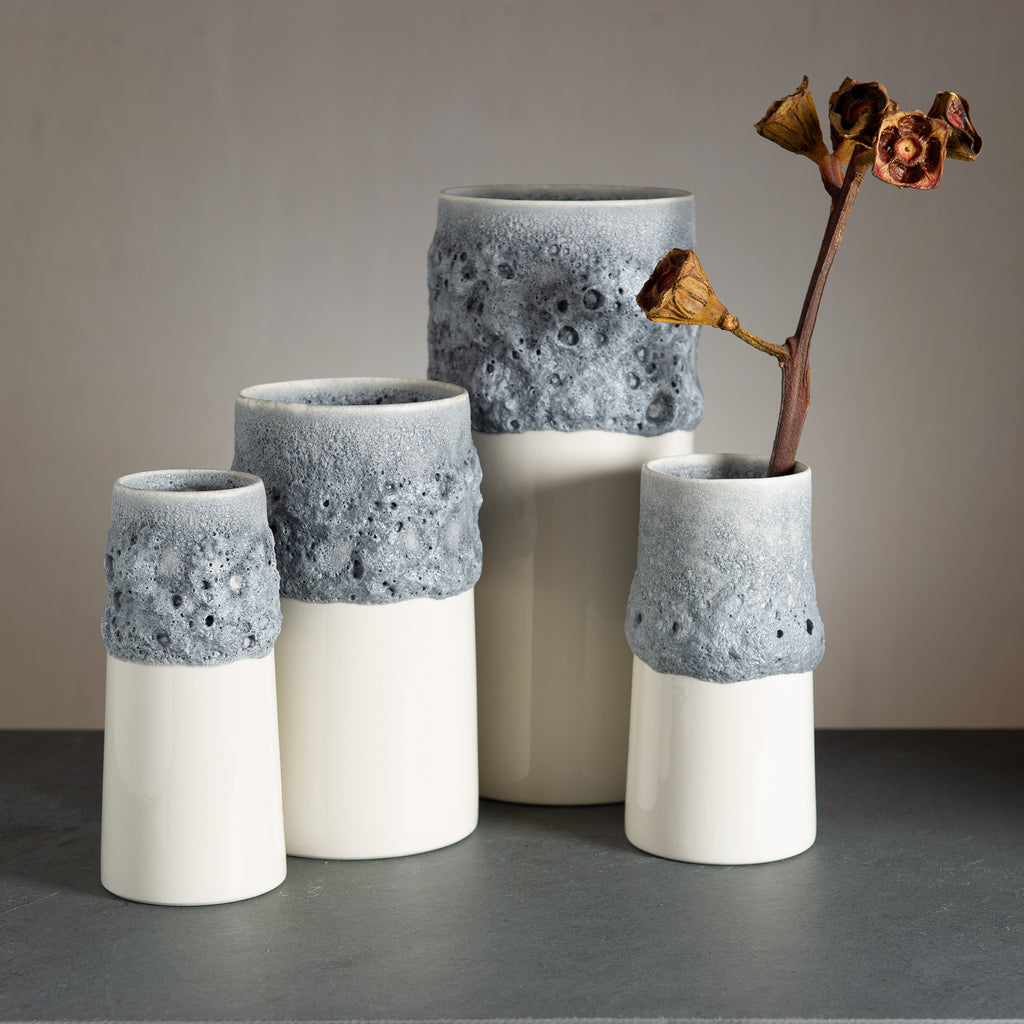 Moon Vase - Bone China/Grey stonish